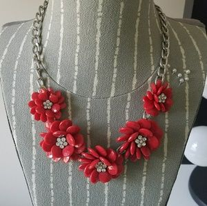 Jewelry - Red & Silver Floral Statement Necklace